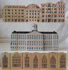 Lot with 12 miniature houses, among others, KLM, Series Canal shops