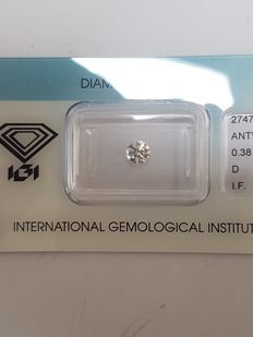 0.38 ct brilliant cut diamond, D, IF