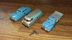 Schuco, US Zone/Western Germany - L. 11 cm - set of 3 cars Varianto mechanical metal 3041, 3042 and 3046-3041, 50/60's