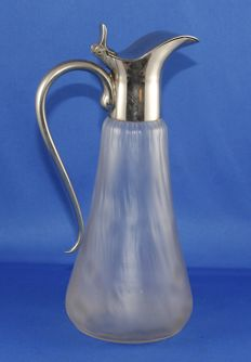 Flamed glass decanter with silver plated spout and handle - France