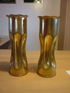 Lot of two casings (shells) - Trench art  - WWI