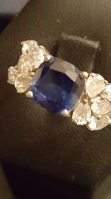 Rhodinated 925 Silver Cocktail Ring with Central and Outer Blue SapphireNo Reserve