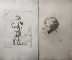 2 prints Probably by Frederik Bloemaert (1614-1690) after his father Abraham Bloemaert (1564-1651) - Studies of stading man and a Head - 17th/18th century