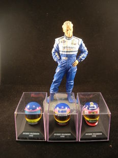 Formule I world champion 1997 Jacques Villeneuve figure 1:9. / 3 helmets Paul's model art.  1:8 1995/1996/1998