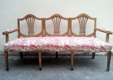 An English style Triple Chairback Walnut Settee - early 20th century