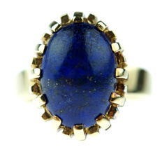 14 kt gold women's ring set with cabochon cut lapis lazuli, ring size 17.75