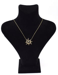14 carat yellow gold necklace  with Sun pendant  43 cm