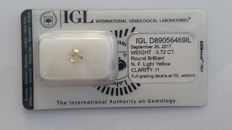 0.72ct ROUND DIAMOND Fancy Light Yellow I1 IGL Lab  -NO RESERVE