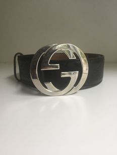 Gucci - Leather monogram Belt