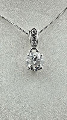 1.07 ct round diamond pendant in 14 kt white gold *** NO RESERVE PRICE ***