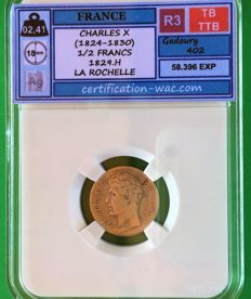 France - ½ Franc 1829 H (La Rochelle) - Charles X - Silver