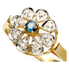 14 kt gold rosette ring with diamonds of 0.08 ct and a blue sapphire - ring size 17.5