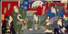 Houtsnede drieluik door Utagawa Kunisada III (1848–1920) - Kabuki acteurs on stage - Japan - 1889