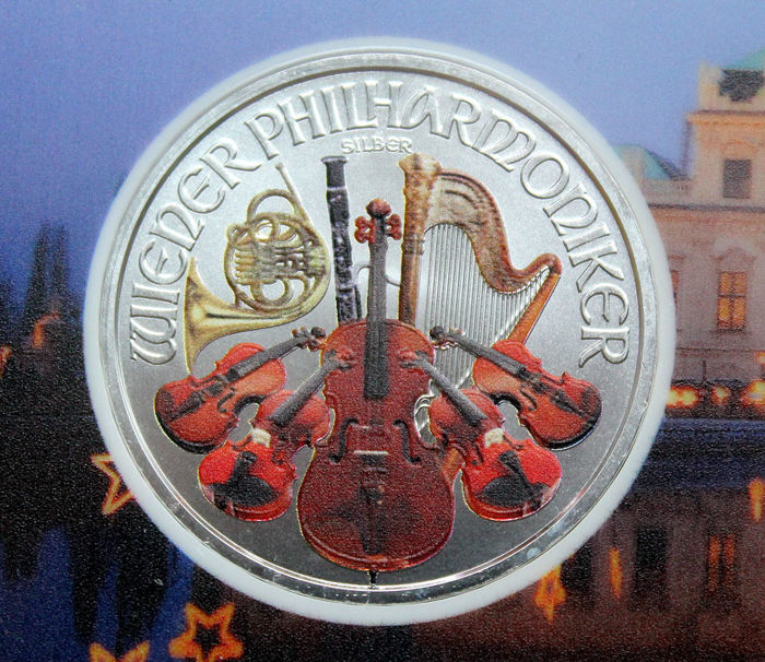Austria - 1.50 Euro 2017 'Vienna Philharmonic' coloured - 1 oz silver