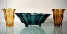 Verrerie de Scailmont - modernist dish and vases - greenish-blue and amber
