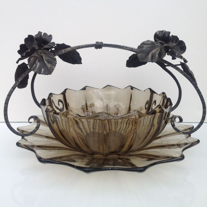 "Glass fruit bowl with wrought iron handle + fruit dish ""Fait en Belgique"""