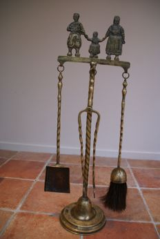 19th century copper hindeloopen fireplace set, with Fries family in traditional costume.