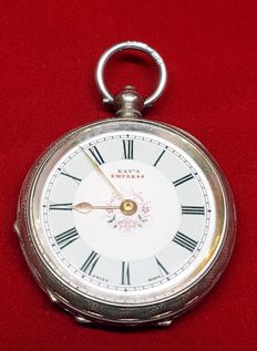 KAY`S EMPRESS silver open face decorative fancy dial pocket watch 1913 London import hallmarks