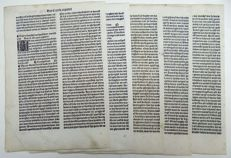 Dutch Incunabula - Ludolphus de Saxonia - Lot of 5 leaves with 5 woodcut initials - Consecutive leaves  CCXXIX-CCXXXIII - Boeke ghehiete dat boec van Jhesus Leven - 1488