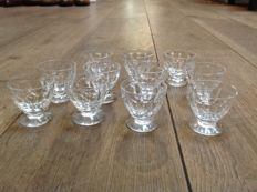 Baccarat - 11 crystal port glasses model 'Charmes'