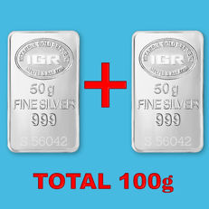 2x50g  999 Fine  2 Bullion Bars , *** No reserve ***