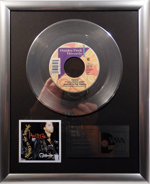"Prince  - Thieves in the Temple -  7"" Paisley Park Records platinum plated record by WWA Awards"