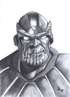 Thanos By Diego Septiembre - Original Charcoal And Graphite Drawing