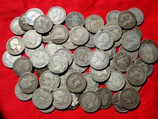 Spain - Lot 58 silver coins - 1 Peseta of Provisional Government (9), Alfonso XII (19) and Alfonso XIII (30)