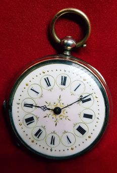 cylindre 4 rubis silver open face decorative fancy dial pocket watch