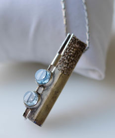 Big silver pendant with aquamarine with necklace