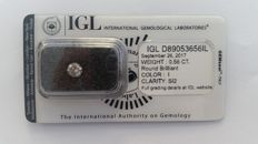 0.56ct ROUND DIAMOND I SI2 IGL Lab  -NO RESERVE