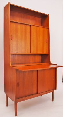 Designer and manufacturer unknown - Teak veneer secretary desk/cupboard