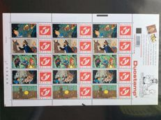 Belgium 1990/2001 - DuoStamps 5 complete sheets Tintin and comic album 'Suske en Wiske' published by Bpost