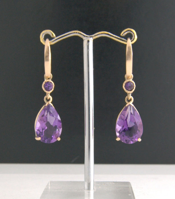 14k Yellow Gold - Amethyst Earrings ***no reserve price***