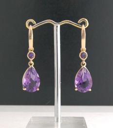 14k Yellow Gold - Amethyst Earrings **no reserve price***