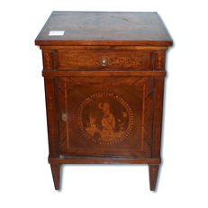 Small single bedside table, inlaid with polychrome woods -Lombard Venetian, Italy - 19th century