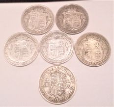 United Kingdom - ½ Crown 1911, 1918, 1920, 1921, 1922 and 1942 George V and VI (6 pieces) - silver
