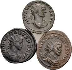 Roman Empire - Lot of 3 AE Antoninianus of Aurelianus (270–275), Probus (276–282) and Diocletianus (284–305)