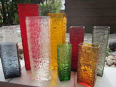 Ingrid glass - 9 vases bark relief bark