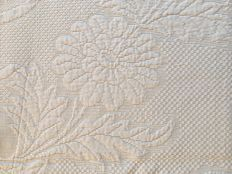 Bed spread end 19th century cotton embossed work