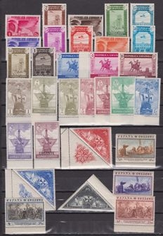 Spain 1930/1937 - Discovery of America, Press Association and Compostela Year - Edifil 531/546, 711/725 and 833/835