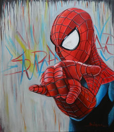 Original Oil Painting On Canvas By Gabriel Brisan - Spider-man