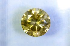 * NO RESERVE PRICE * - Diamond of 1.53 ct - Fancy INTENSE Greenish Yellow - SI2