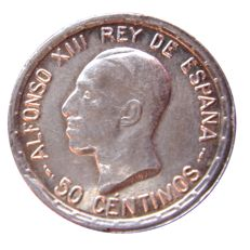 Spain - Alfonso XIII, 50 cents silver coin minted in the year 1926 Assayer PC-S Excellent piece