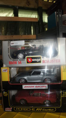 Anson / Burago - Scale 1/18 - Lot with 3 models: BMW Z3, Porsche 911 Turbo & Porsche 911 GT2