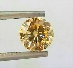 **  0.98 ct - Natural Fancy GOLD- VS2 Clarity -  Round Loose Diamond  - IGL certified - Laser inscription -Original Image