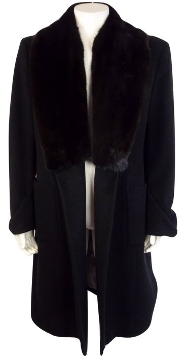 Exté - coat - long model - with large, mink fur collar