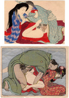 Two original shunga woodblock prints by unknown artists - Japan - ca. 1900 (Meiji Period)