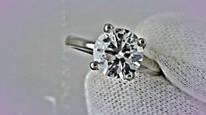 2.06 ct round diamond ring made of 18 kt white gold - size 7