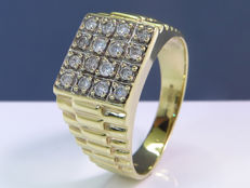 Robust modern diamond ring - Size: 21.60mm - No reserveprice.